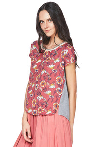 Misses M Knt S/S Printed Knit Top