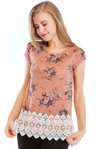 Misses M Knt S/S Scoopneck Lace Hem Knit Top