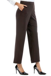 Misses M Pnt Elastic Waist, Pull On, Straight Leg Waist Slimming Pant