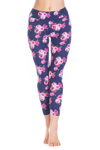 Navy Multi Floral Print Legging - Misses