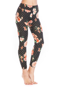 Black Floral Leggings Pant - Misses