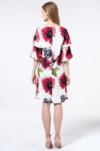 Floral Double Tier Sleeve Dress - Misses