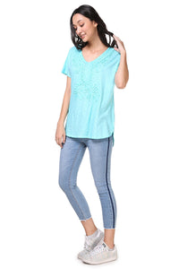 Short Sleeve Vneck Washed Tee - Misses