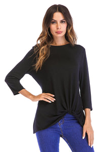 Misses M 3/4 Slv Knot Front Top