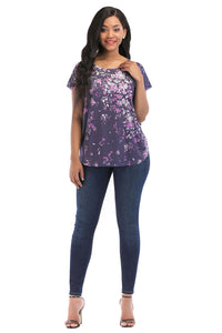 Short Sleeve V Neck Printed Top - Misses