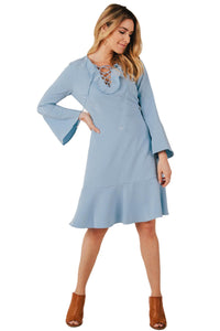 Light Blue V-Neck L/S Dress - Misses