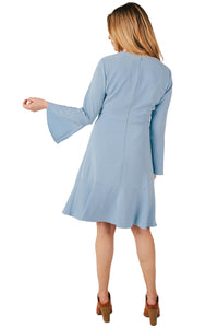 Misses M Drs Light Blue V-Neck L/S Dress