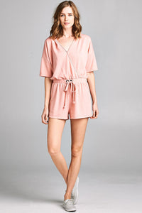 Drop Shoulder V Neck Romper - Misses