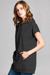 Knit Drop Shoulder Hoodie Tunic - Misses