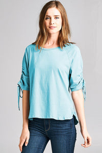 Raglan Sleeve High Low Knit Top W/ Ruched Detail - Misses