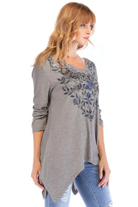 3/4 Sleeve Heathered Knit Top - Misses