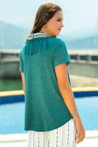 Knit Short Sleeve Shirt With Fringed Scarf - Misses