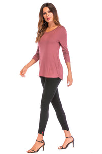 Knit Ruched Sleeve V Neck Top - Misses