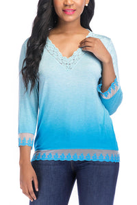Long Sleeve Vneck Crochet Top - Misses