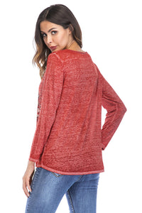 Misses M Knt Long Sleeve Scoop Neck Knit Top
