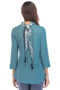 Misses M Knt 3/4 Sleeve Shirttail Hem Knit Top With Scarf