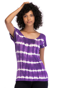 Knit Short Sleeve Tie Dye Vneck Knit Top - Misses