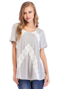 Short Sleeve Lace Scoop Neck Knit Top - Misses