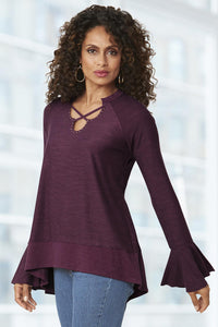 Misses Bell Sleeve Criss Cross Knit Top