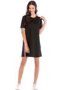 Misses M Drs Short Sleeve Dress With Side Stripe