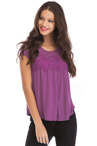 Misses M Sslv Scoop Neck Lace Detail Knit Top
