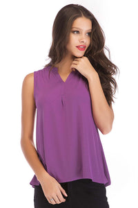 Sleeveless Henley Knit Top - Misses