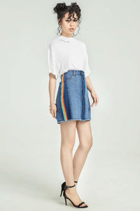 Button Front Denim Skirt With Rainbow Stripe - Misses