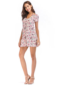 Misses M Drs Floral Short Sleeve Knit Dress