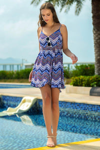Spaghetti Strap Chevron Dress - Misses