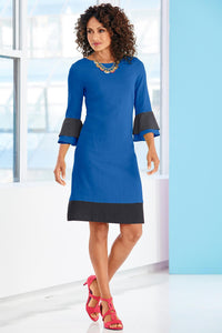Contrast Ruffle And Border Linen Dress - Plus