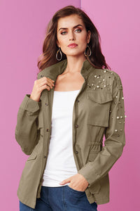 Out Pearl & Stud Military Jacket - Misses