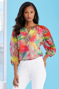Tropical Print Poet Blouse - Misses