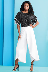 Ruffle Sleeve Dot Top Blouse - Misses