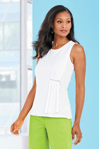 Sleevless Top With Pleating - Misses