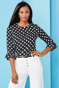 Polka Dot Ruffle Sleeve Blouse - Misses