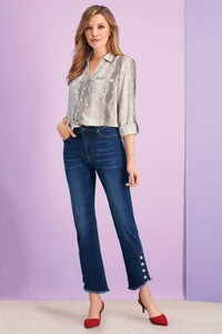 Misses M Dnm Fashion Jeans with Pearl Snaps