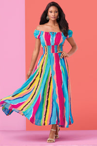 Cap Sleeve Maxi Dress - Misses