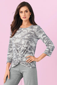 Act Camo Knot Front Top - Misses