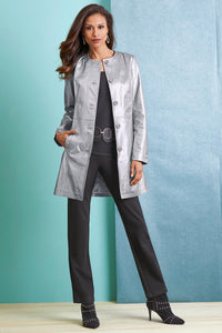 Collarless Genuine Leather 3/4 Coat - Misses