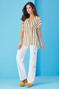 Vertical Stripe Top Blouse - Misses