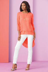 Ruched Sleeve High Low Blouse - Misses