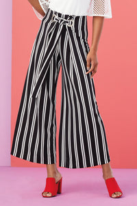Striped Wide Leg Ankle Pants - Misses