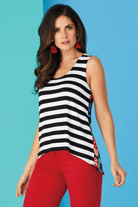 Misses M Knt Stripe and Floral High Low Tank
