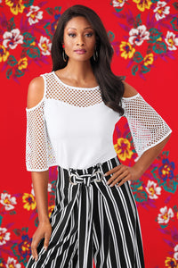 M Knt Embroidered Cold Shoulder Blouse - Misses