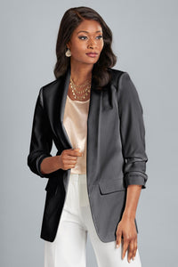 Ruched Sleeve Open Blazer - Plus