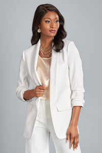 Ruched Sleeve Open Blazer - Petite