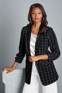 Ruched Sleeve Open Blazer - Tall