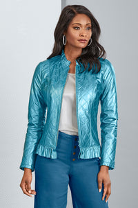 Quilted Leather Jacket - Plus