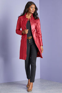 Snap Front Genuine Leather Coat - Tall