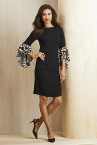 Leopard Print Animal Sleeve Dress - Misses